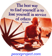 B1019 - The Best Way To Find Yourself Is To Lose... - Gandhi - Button