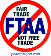 B707 - No FTAA, Fair Trade Not Free Trade - Button