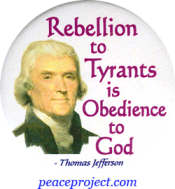 B758 - Rebellion To Tyrants Is Obedience To God - Thomas Jefferson - Button