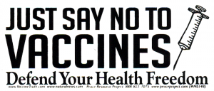 MS148 - Just Say No To Vaccines - Defend Your Health Freedom - Mini-Sticker
