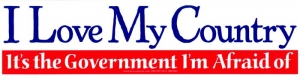 S386 - I Love My Country, It's the Government I'm Afraid Of - Bumper Sticker