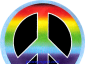 B1103 - Peace Sign - Rainbow On A Black Background - Button