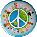 B1214 - Peace Sign over Earth with Children - Button