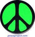 B0135 - Peace Sign - Black over Green - Button