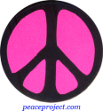 B0135P - Peace Sign - Black over Pink - Button