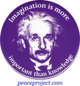 B270 - Imagination Is More Important Than Knowledge - Albert Einstein - Button