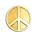 Gold Tone Peace Sign - Enamel Lapel Pin