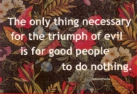 The Only Thing Necessary For The Triumph Of Evil Is For Good People To Do Nothin