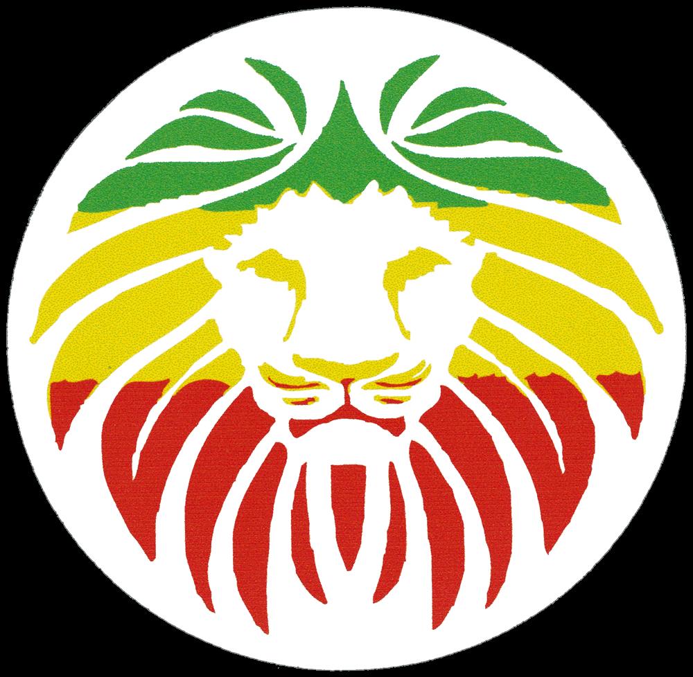 Rasta lion face small bumper sticker decal 3 circular