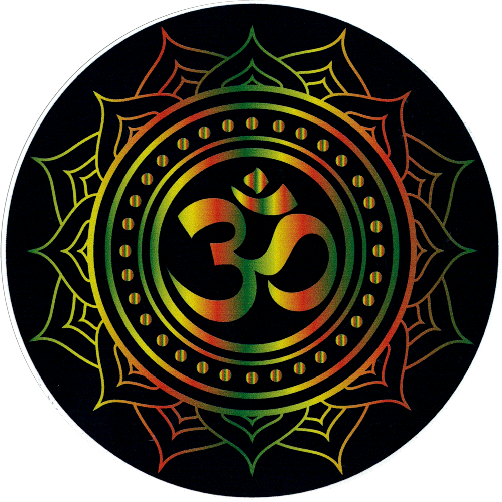 Om symbol with lotus rasta colors on black window sticker decal