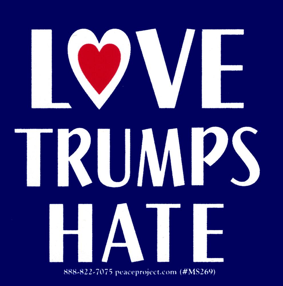 Love trumps hate small bumper sticker decal 3