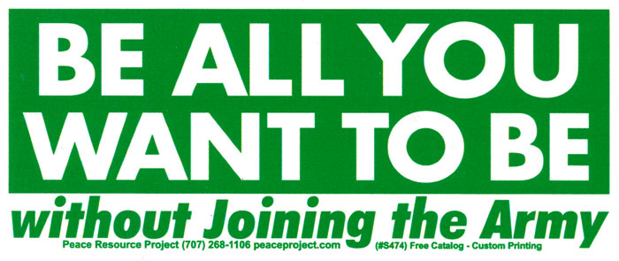 Counter Recruitment Bumper Stickers And Decals Peace