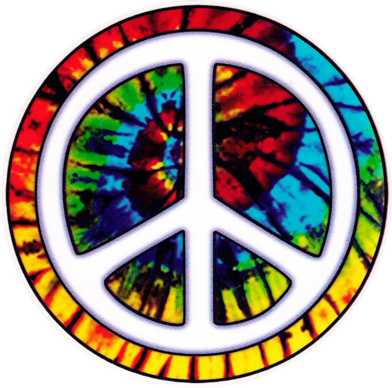 Tie dye peace circle window sticker decal 4 5 circular