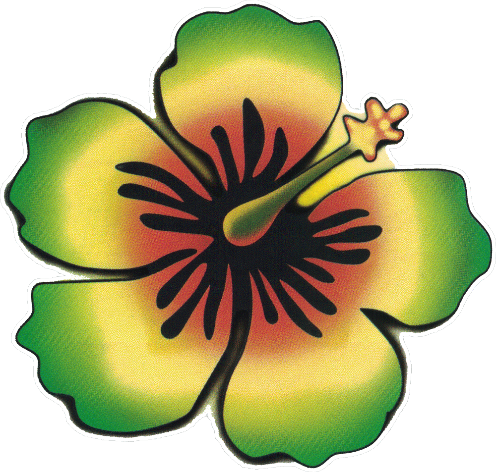Rasta hibiscus window sticker decal 4 5 x