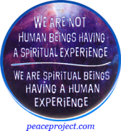 We Are Not Human Beings Having A Spiritual Experience... - Button