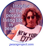 Imagine All The People Living Life In Peace - John Lennon - Button / Pinback (1.