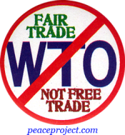 B1122 - Fair Trade Not Free Trade - No WTO - Button