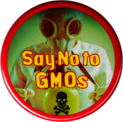 "Say No To GMO's (with scientist in mask) - Button / Pinback (1.75"")"