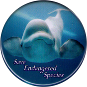 B1212 - Save Endangered Species (Beluga Whale) - Button