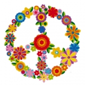 "Flower Peace Sign - Button (1.5"")"