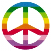 "Rainbow Stripes Peace Sign - Button (1.5"")"