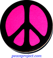 B0234P - Peace Sign - Black over Pink - Button