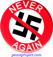 B484 - Never Again (slashed out swastika) - Button