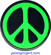 B0704G - Peace Sign - Green over Black - Button
