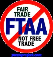 B707 - No FTAA, Fair Trade Not Free Trade - Button
