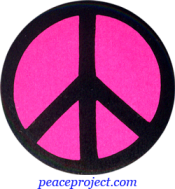B901P - Peace Sign - Black over Pink - Button