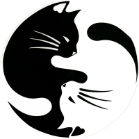"Yin and Yang Pet Cat Lover - Bumper Sticker / Decal (4.5"" circular)"