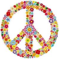 "Hippie Love Floral Peace Symbol - Bumper Sticker / Decal (4.5"" circular)"