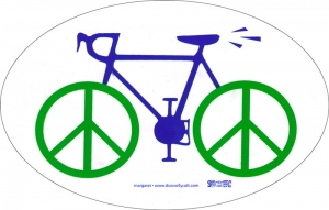 "Bike Peace - Small Bumper Sticker  (4"" X 2.5"" Oval )"