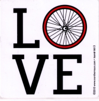 "Love Bicycle Wheel - Small Bumper Sticker / Decal (3"" X 3"")"