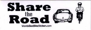 "Share the Road - Small Bumper Sticker / Decal (4"" X 1.25"")"