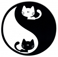 "Yin Yang Kittens - Small Bumper Sticker / Decal (3"" circular)"