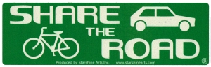 "Share The Road - Small Bumper Sticker / Decal (5.5"" X 1.75"")"