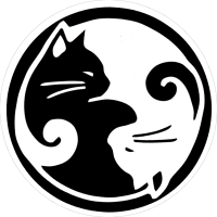 "Yin Yang Cats - Small Bumper Sticker / Decal (3"" Circular)"
