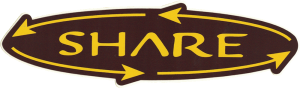 "Share - Small Bumper Sticker / Decal (5.5"" X 1.75"")"