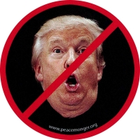 "Anti-Trump (face) - Small Bumper Sticker / Decal (3"" Circular)"