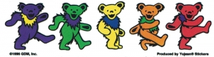"Grateful Dead Dancing Bears - Small Bumper Sticker / Decal (4.75"" X 1.25"")"