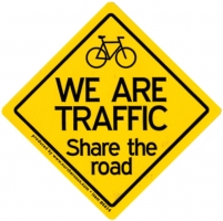 "We Are Traffic - Share the Road - Small Bumper Sticker / Decal (3"" X 3"")"