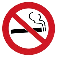 "No Smoking - Small Bumper Sticker / Decal (3.5"" Circular)"