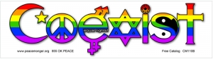 "Coexist Equal Rights - Small Bumper Sticker / Decal (5.5"" X 1.5"")"