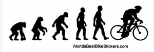"Bike Evolution - Small Bumper Sticker  / Decal (4.5"" X 1.5"")"