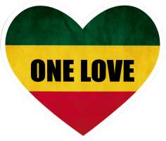 "One Love Heart - Small Bumper Sticker / Decal (4"" X 3.5"")"
