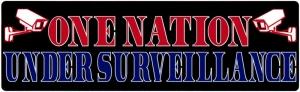 """One Nation Under Surveillance - Small Bumper Sticker / Decal (5.5"""" X 1.75"""")"""