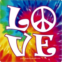 "LOVE - Small Bumper Sticker / Decal (3.25"" X 3.25"")"