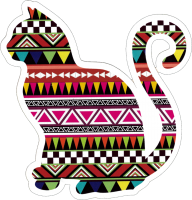 "Tribal Kitty - Small Bumper Sticker / Decal (3.75"" X 4"")"