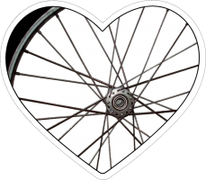 "Bike Wheel Heart - Small Bumper Sticker / Decal (4"" X 3.75"")"